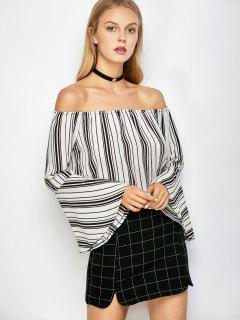 Flare Sleeve Striped Blouse - Blanc S