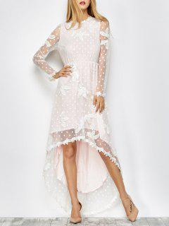 Embroidered Lacework Asymmetric Dress - White S