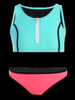 Bloque De Color Media Cremallera Conjunto Bikini - Turquesa S
