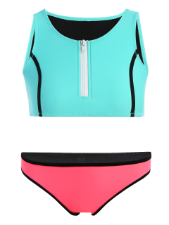 Half Zip Neoprene Bikini Set - Turquoise S