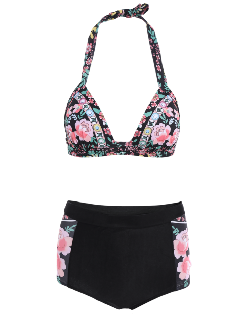 womens Floral High Waisted Two-Piece Swimsuit - BLACK 2XL Mobile