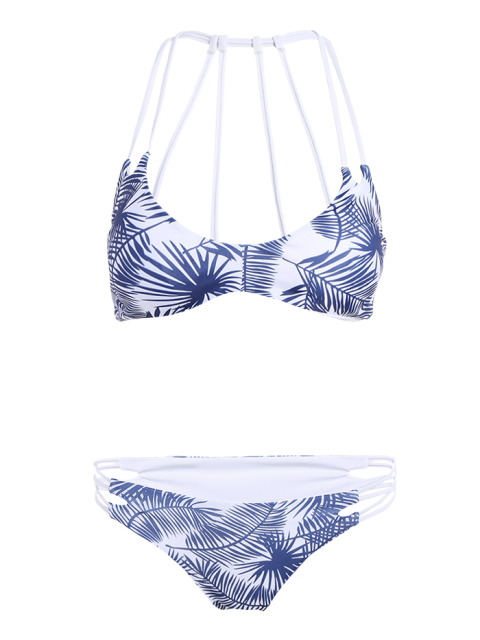 women's Leaf Print Strappy Back Bikini - BLUE AND WHITE L Mobile