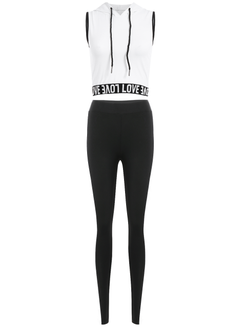 buy Letter Hoodie and Color Spliced Leggings - WHITE L Mobile