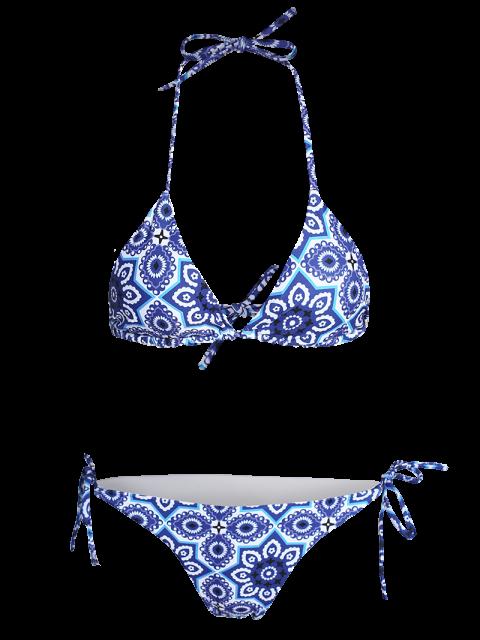 fashion Halter String Ethnic Printed Bikini Set - BLUE S Mobile