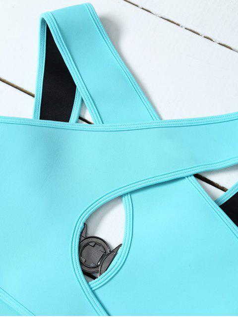 women's Crossover Cut Out Bikini Set - AZURE L Mobile