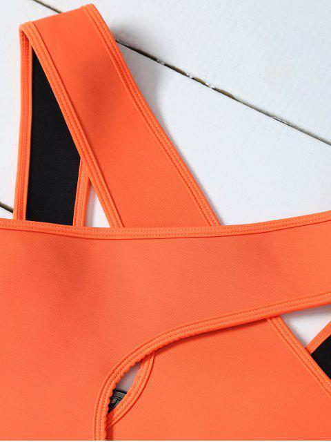 outfits Crossover Cut Out Bikini Set - ORANGE S Mobile