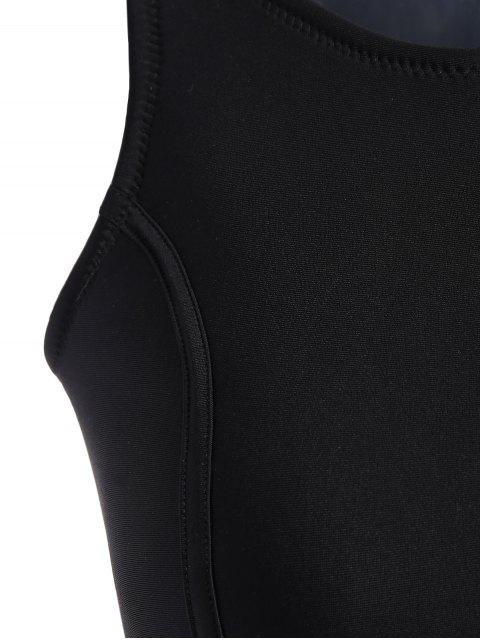latest Half Zip Neoprene Bikini Set - BLACK S Mobile