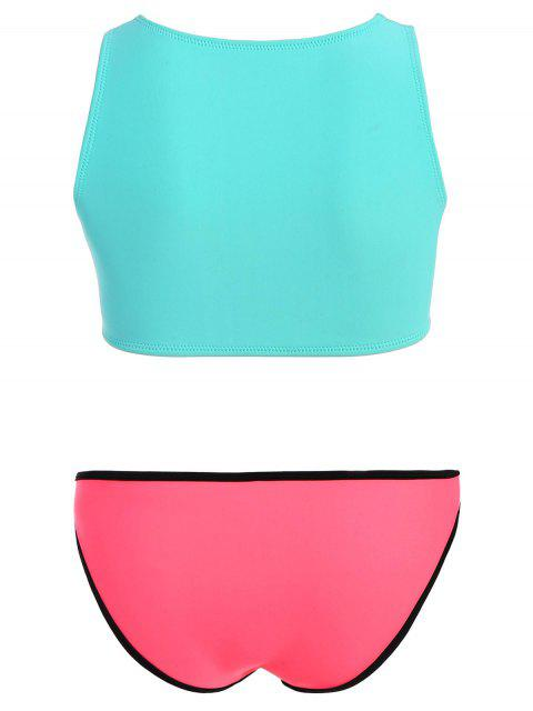fashion Half Zip Neoprene Bikini Set - TURQUOISE L Mobile