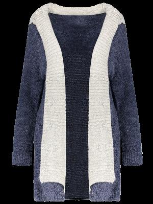 Hooded Faux Twinset Cardigan - Purplish Blue M
