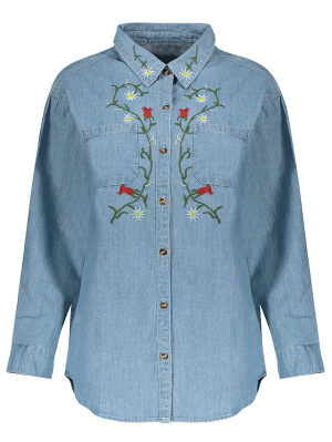 Flower Embroidered Pockets Chambray Shirt - Light Blue M