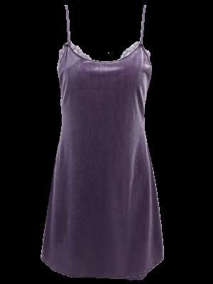 Robe Mini En Velours à Bretelle Avec Décoration De Dentelle - Gris L