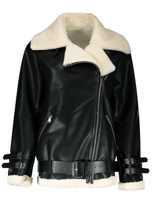 Lapel Faux Shearling Biker Jacket - Black M