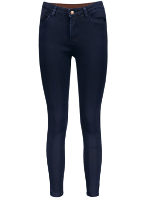 Super Elastic Wool Blend Pencil Jeans - Deep Blue S