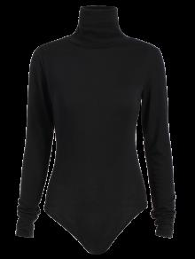 Gloved Sleeve Turtle Neck Bodysuit - Black M