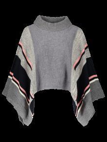 Stripe Dolman Poncho Sweater - Gray