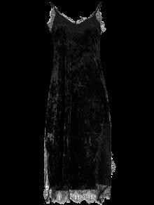 Robe Cami Velours à Mi Mollet Embelli Patchwork Dentelle - Noir L
