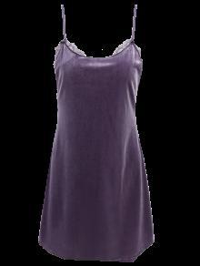 Velour Panel Mini Vestido De Encaje - Gris S