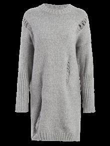 Long Distressed Sweater - Gray