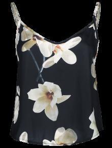 Ajustado Satén Con Tirantes Floral - Negro M