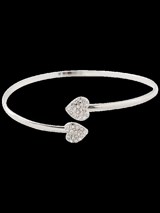 women's Rhinestone Heart Bracelet - SILVER