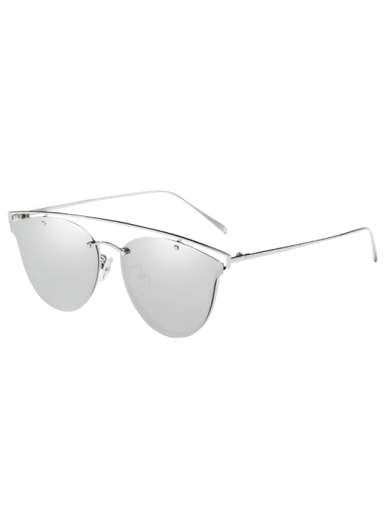 sale Crossbar Metal Mirrored Butterfly Sunglasses - SILVER