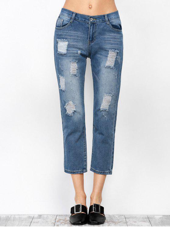 جينز قصير ممزق - ازرق XL