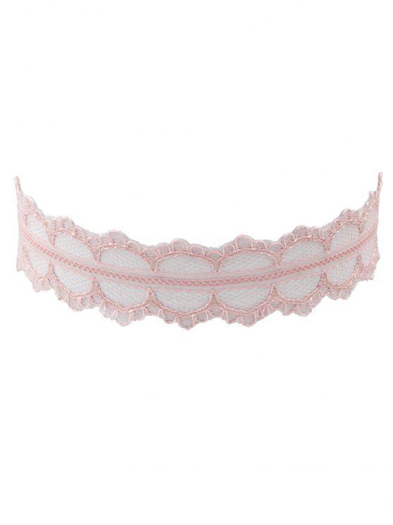 الدانتيل واسعة قلادة المختنق قابل للتعديل - الضحلة الوردي