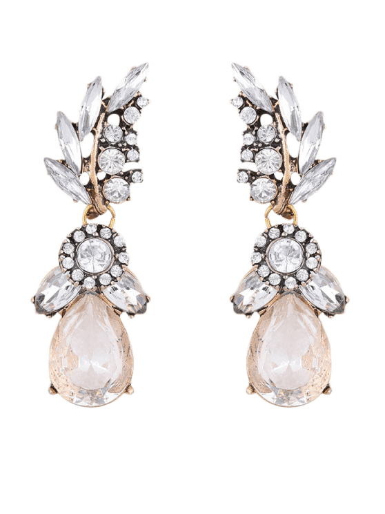 Water Drop Leaf Rhinestone Earrings - Branco