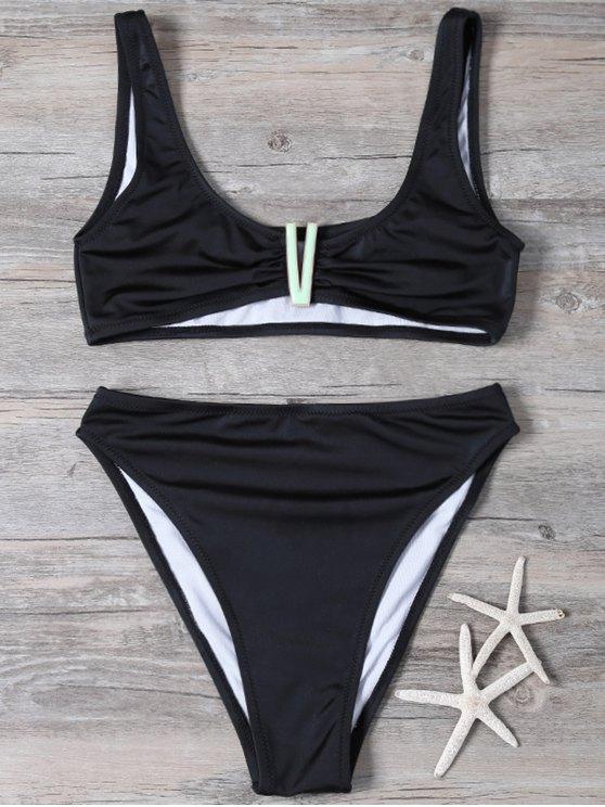 Parcheado de talle alto Set Bikini - Negro L