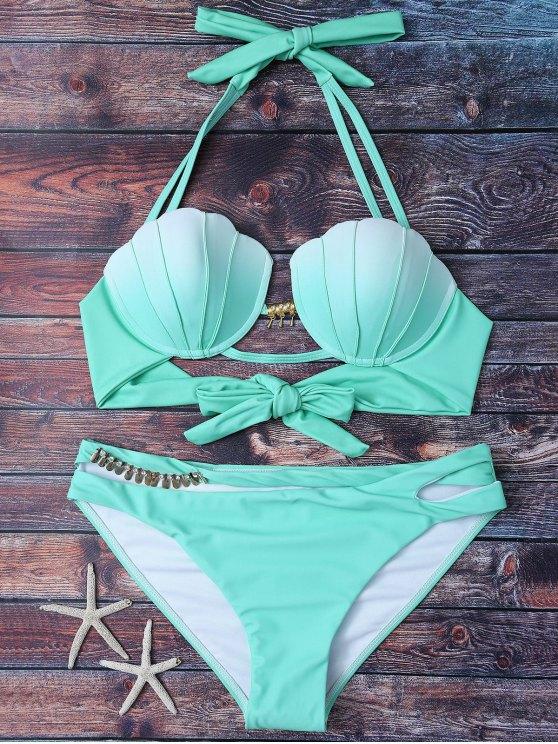 Shell de la sirena cabestro bikini - Verde M