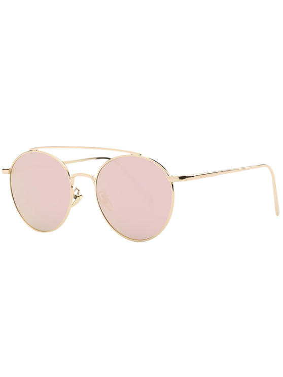 chic Metal Frame Mirrored Sunglasses - ROSE GOLD