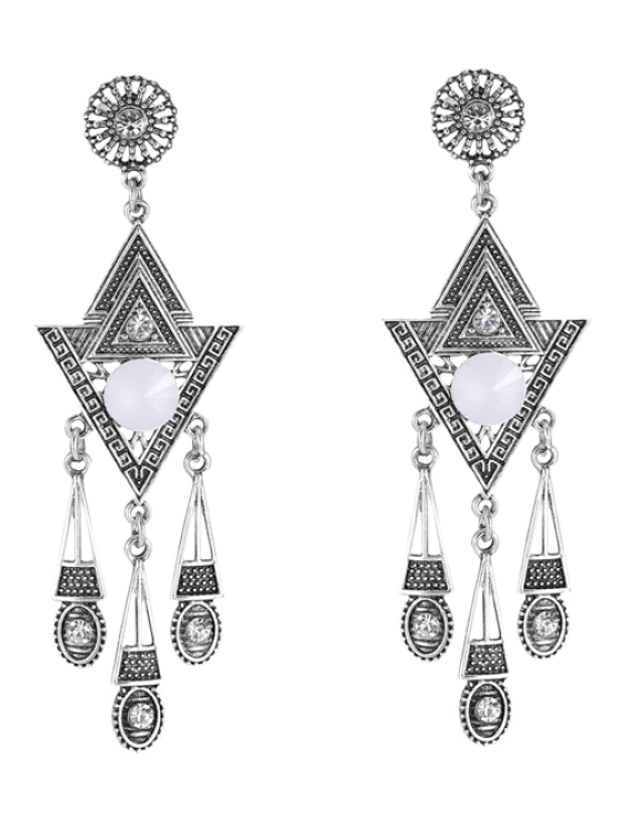 lady Pair of Triangle Rhinestone Drop Earrings - SILVER