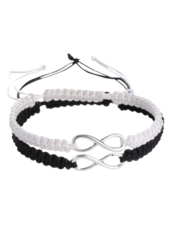 Bracelets tissé infini - Blanc et Noir
