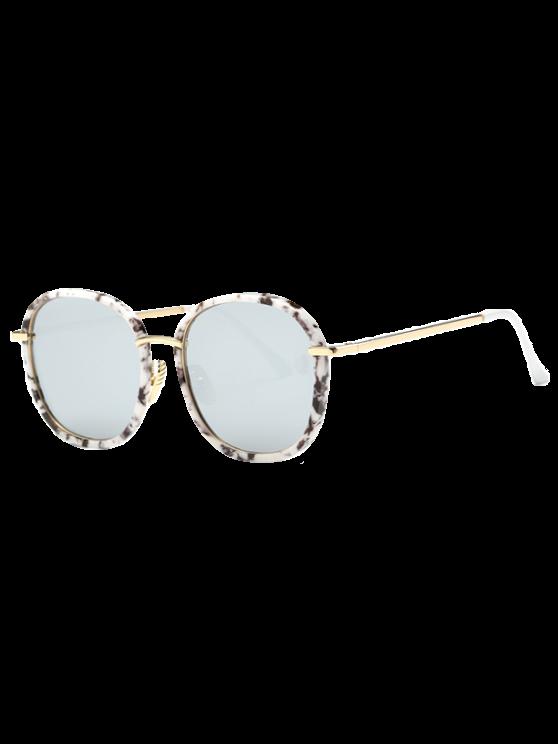 Marmo occhiali a specchio oversize - Bianco