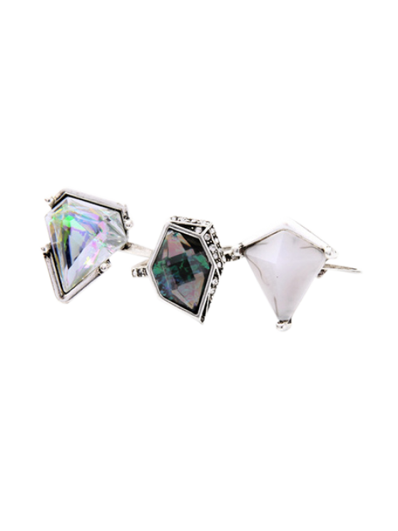 fashion Geometric Faux Gem Ring Set - SILVER