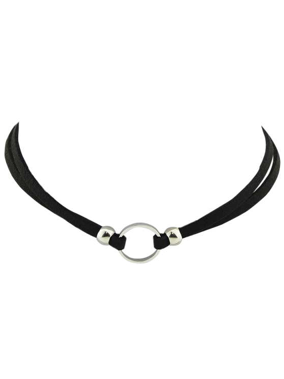 sale Punk Style Artificial Leather Round Choker - SILVER