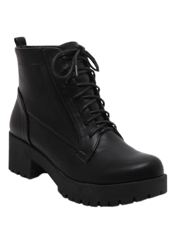 affordable Black Lace-Up Chunky Heel Short Boots - BLACK 37