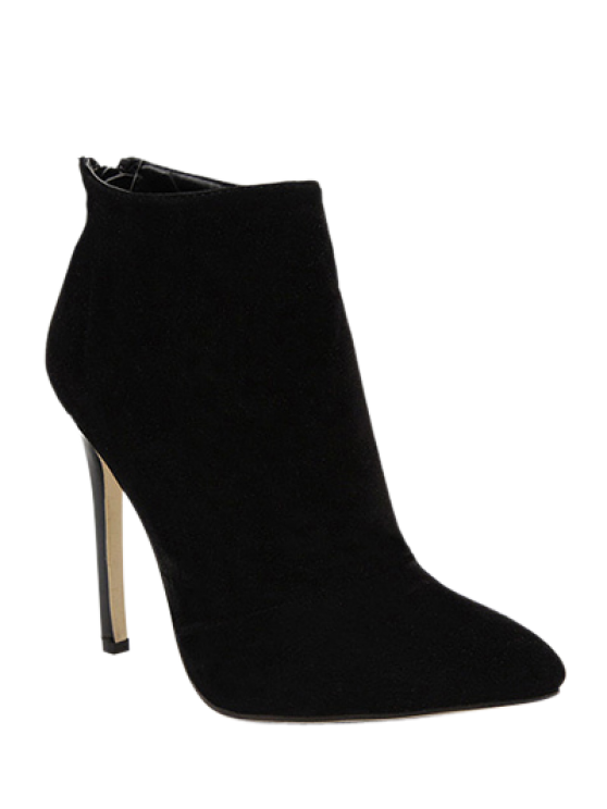 latest Pointed Tie Flock Zipper Ankle Boots - BLACK 40