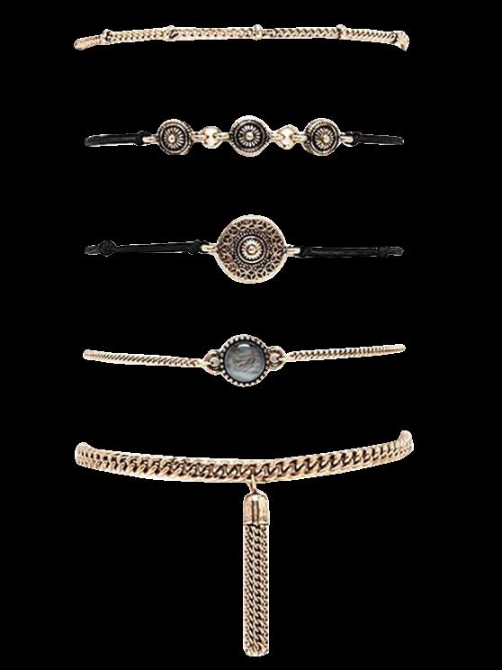 unique Chain Tassel Engraved Round Bracelet Set - GOLDEN