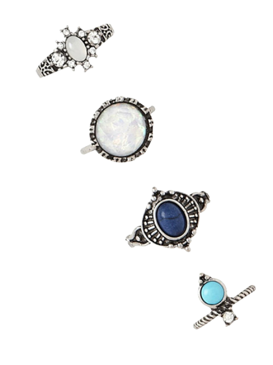 chic 4 PCS Faux Gem Retro Rings - SILVER