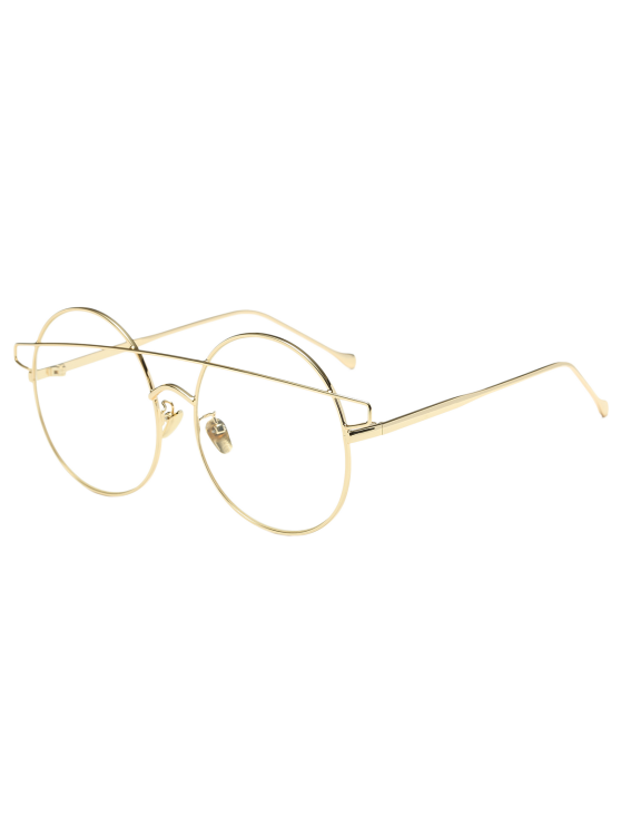 fancy Transparent Lens Crossover Round Sunglasses - GOLDEN