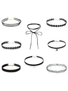 Choker Necklaces Set - Black