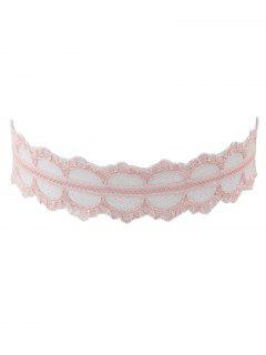 Lace Wide Adjustable Choker Necklace - Shallow Pink