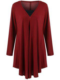 Long Sleeve Plus Size Asymmetrical Longline T-Shirt - Wine Red Xl