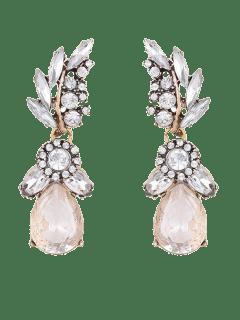 Pendientes Diseño Gota De Agua Hoja Imitación Diamantes - Blanco