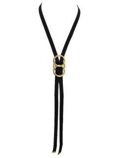 Velvet Overlapping Buckle Necklace - Black