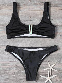Cropped Patched Bikini Set - Black S