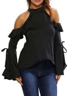 Bell Sleeve Cold Shoulder Ruffles T-Shirt - Black L
