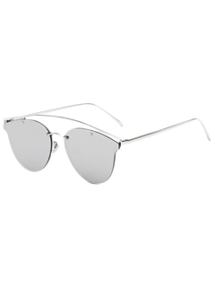 Crossbar Mirrored Butterfly Sunglasses - Silver