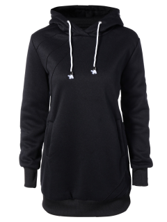 Long Sleeve Drawstring Hoodie Dress - Black L